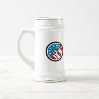 Plumber Hand Pipe Wrench USA Flag Side Angled Circ Beer Stein