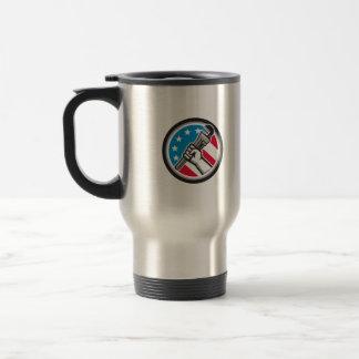 Plumber Hand Pipe Wrench USA Flag Side Angled Circ Travel Mug