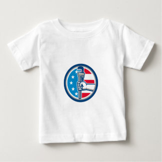 Plumber Hand Pipe Wrench USA Flag Upright Circle R Baby T-Shirt