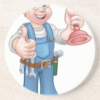 Plumber Handyman Holding Plunger Coaster
