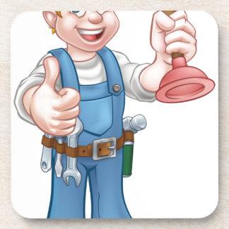Plumber Handyman Holding Plunger Drink Coaster