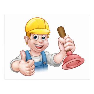 Plumber Handyman Holding Plunger Postcard