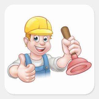 Plumber Handyman Holding Plunger Square Sticker