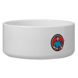 Plumber Holding Monkey Wrench Circle Cartoon Dog Bowls