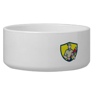 Plumber Holding Monkey Wrench Crest Cartoon Dog Food Bowls