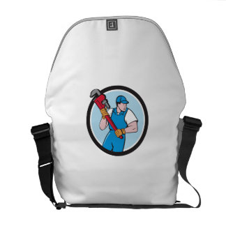 Plumber Holding Pipe Wrench Circle Cartoon Courier Bag