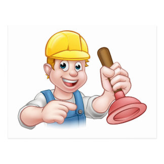 Plumber Holding Plunger with Hard Hat Postcard