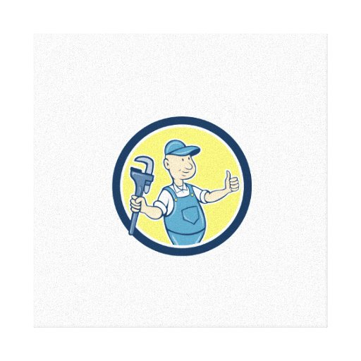 Plumber Monkey Wrench Thumbs Up Cartoon Canvas Prints