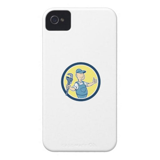 Plumber Monkey Wrench Thumbs Up Cartoon iPhone 4 Cover