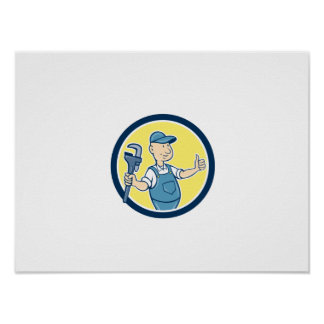 Plumber Monkey Wrench Thumbs Up Cartoon Poster