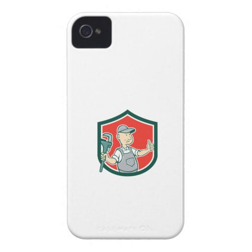 Plumber Monkey Wrench Thumbs Up Shield Cartoon iPhone 4 Case-Mate Case