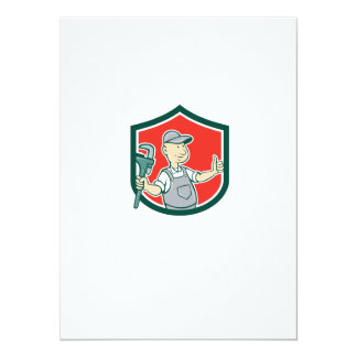 Plumber Monkey Wrench Thumbs Up Shield Cartoon Personalized Announcements