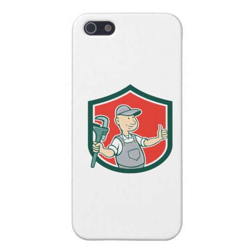 Plumber Monkey Wrench Thumbs Up Shield Cartoon iPhone 5/5S Case