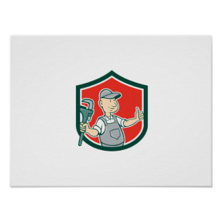 Plumber Monkey Wrench Thumbs Up Shield Cartoon Poster