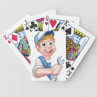 Plumber or Mechanic Holding a Spanner Bicycle Playing Cards
