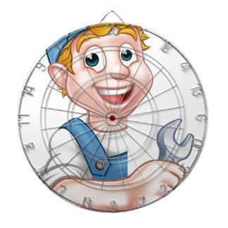 Plumber or Mechanic Holding a Spanner Dartboard