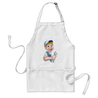 Plumber or Mechanic Holding a Spanner Standard Apron