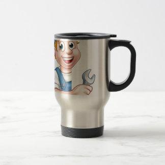 Plumber or Mechanic Holding a Spanner Travel Mug
