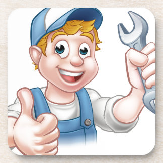 Plumber or Mechanic with Spanner Beverage Coaster