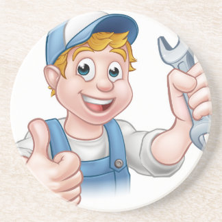 Plumber or Mechanic with Spanner Drink Coasters