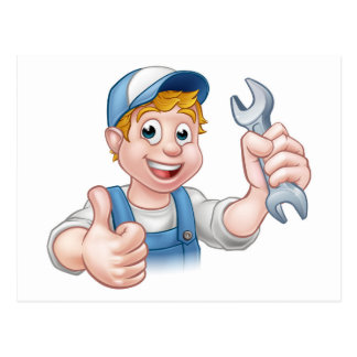 Plumber or Mechanic with Spanner Postcard