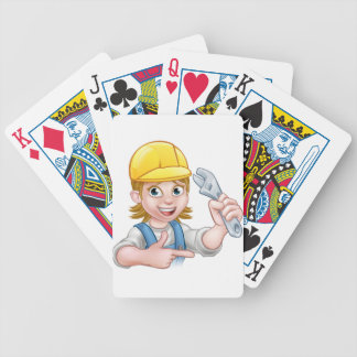 Plumber or Mechanic Woman Holding Spanner Bicycle Playing Cards