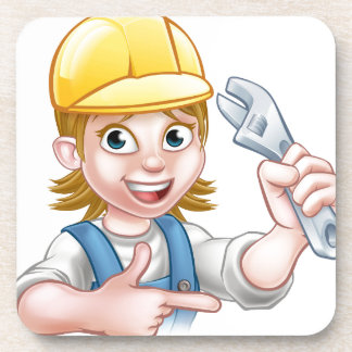Plumber or Mechanic Woman Holding Spanner Coaster