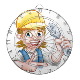 Plumber or Mechanic Woman Holding Spanner Dartboard With Darts