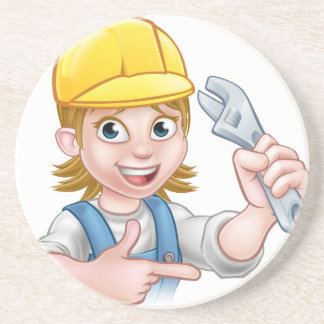 Plumber or Mechanic Woman Holding Spanner Drink Coaster