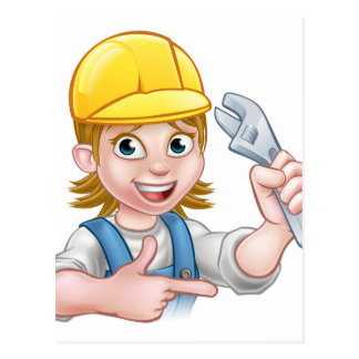 Plumber or Mechanic Woman Holding Spanner Postcard