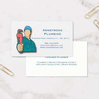 Plumber Pipe Wrench Plumbing Business Card