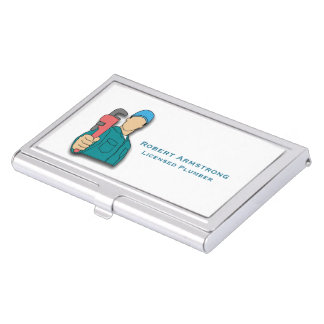 Plumber Pipe Wrench Plumbing Business Card Holder