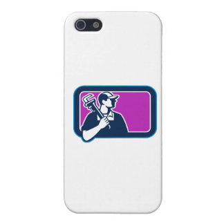 Plumber Pipe Wrench Side Rectangle Retro iPhone 5 Cases