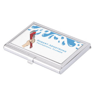Plumber Pipe Wrench Water Business Card Holder