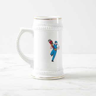 Plumber Running Pipe Wrench Cartoon Beer Stein