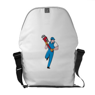 Plumber Running Pipe Wrench Cartoon Commuter Bag