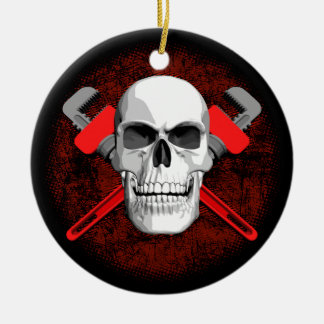 Plumber Skull and Wrenches Ceramic Ornament