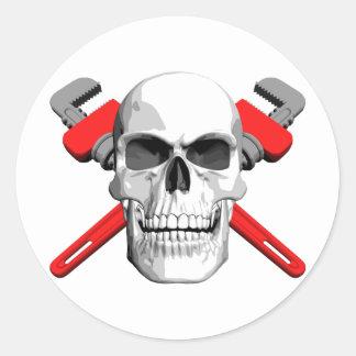 Plumber Skull Classic Round Sticker