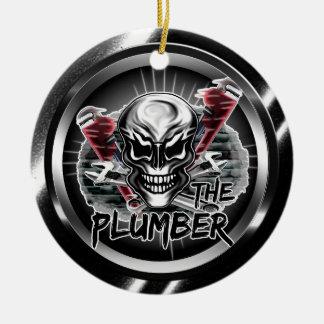"""Plumber Skull Ornament: """"The Plumber"""" Ceramic Ornament"""