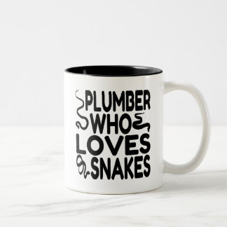 Plumber Who Loves Snakes Two-Tone Coffee Mug