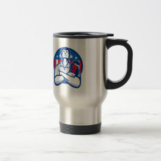 Plumber With Monkey Wrench American Flag retro Travel Mug