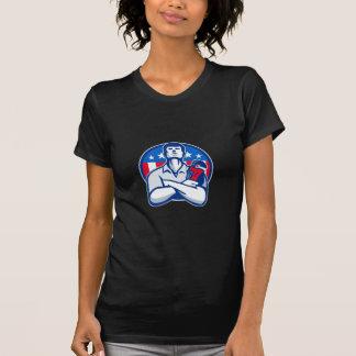 Plumber With Monkey Wrench American Flag retro T-shirts