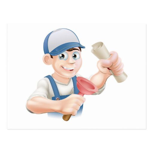 Plumber with qualification post card