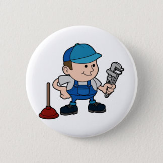 plumber with wrench 2 inch round button