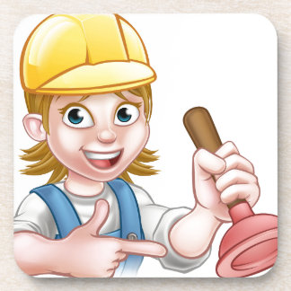 Plumber Woman Holding Plunger Drink Coasters