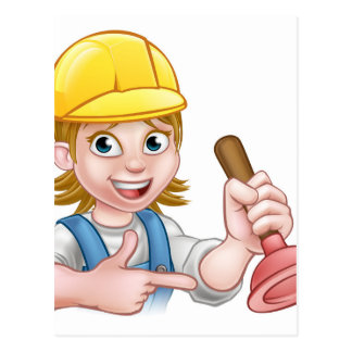 Plumber Woman Holding Plunger Postcard