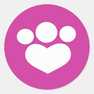 Plumberry Paw Print Heart Round Sticker