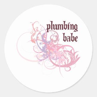 Plumbing Babe Classic Round Sticker