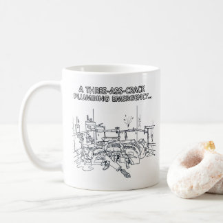 Plumbing Emergency right hand cartoon mug