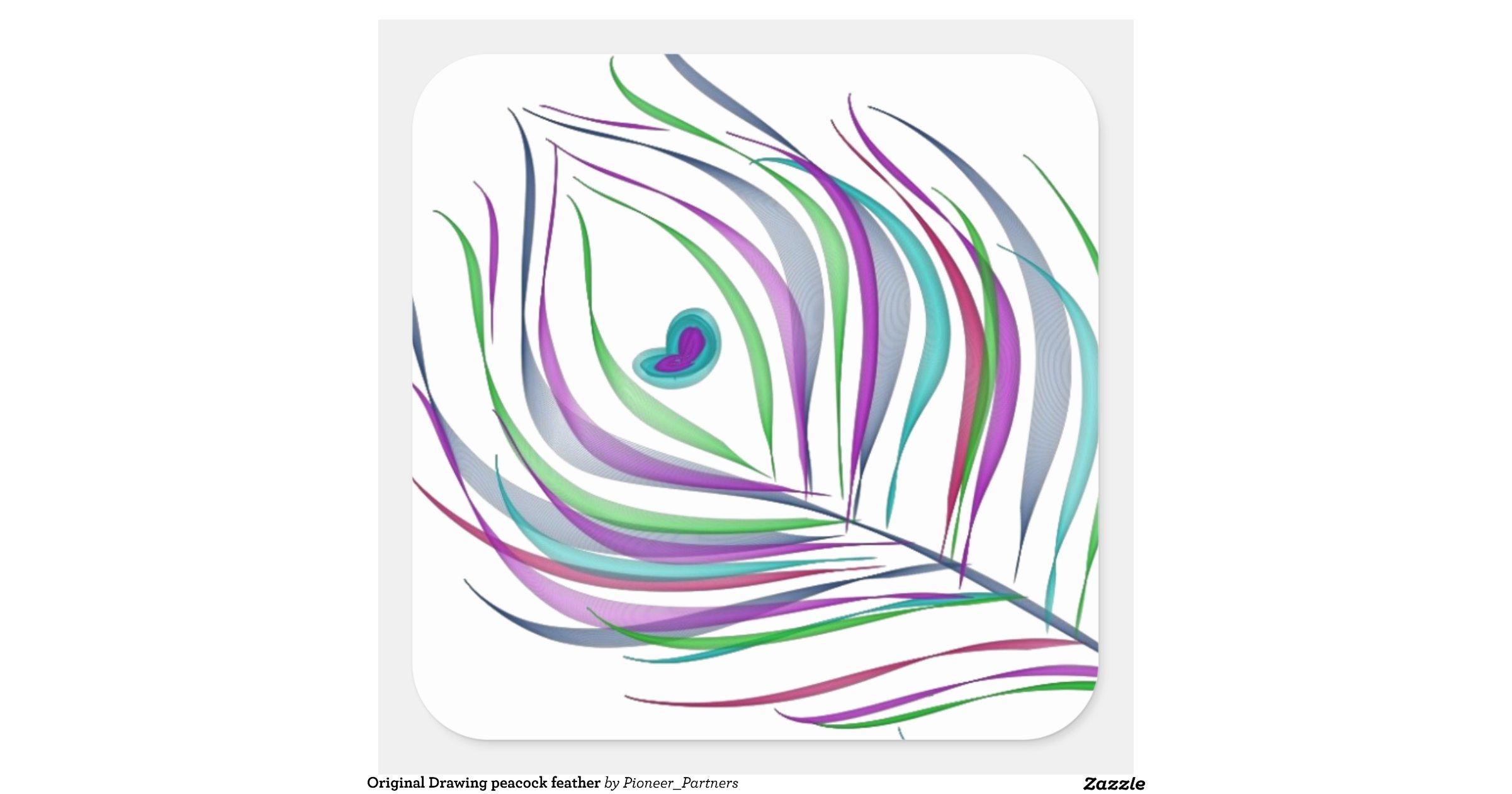Plume de paon de dessin original sticker carre r0313ba08ab4a49ac93985eb89d69f1e7 v9wf3 8byvr - Plume de paon dessin ...